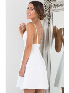 A-Line V-neck Spaghetti Straps White Satin Homecoming Dress