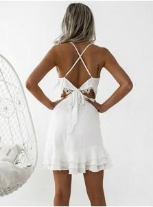 Sheath Spaghetti Straps Pleated White Satin Homecoming Dress
