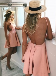 A-Line Bateau Backless Short Pink Satin Homecoming Dress