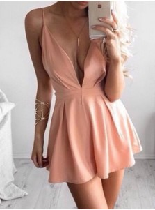 A-Line Spaghetti Straps Short Pink Polyester Homecoming Dress