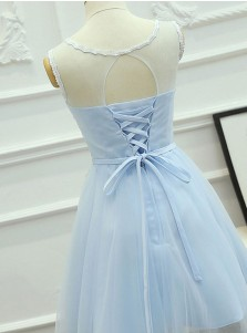 A-Line Jewel Short Blue Tulle Homecoming Dress with Sash Appliques