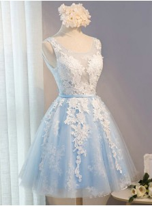 A-Line Scoop Short Light Blue Tulle Homecoming Dress with Appliques