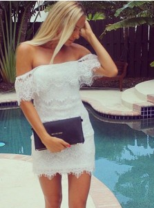 Bodycon Off-the-Shoulder Short White Lace Homecoming Dress