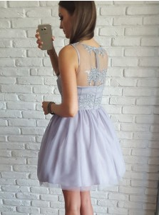A-Line V-Neck Short Light Lavender Tulle Homecoming Dress with Appliques