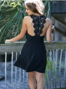 A-Line Scoop Chiffon Little Black Dress with Lace