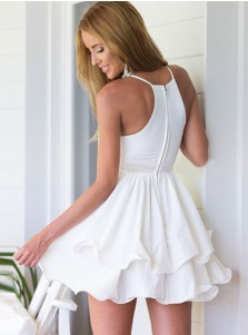 A-Line Spaghetti Straps White Tiered Chiffon Homecoming Dress