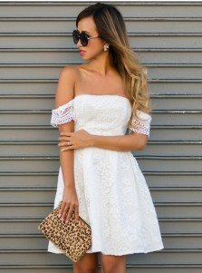 A-Line Off-the-Shoulder White Lace Homecoming Dress