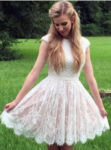 A-Line Bateau Cap Sleeves Short Ivory Lace Homecoming Dress with Pearls
