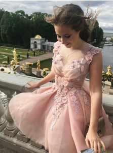 A-Line V-Neck Sleeveless Short Pink Tulle Homecoming Dress with Appliques