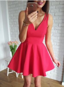 A-Line V-Neck Sleeveless Short Red Satin Homecoming Dress