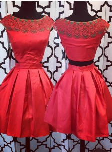 A-Line Bateau Cap Sleeves Red Satin Homecoming Dress with Lace Cut Out