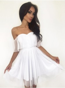 A-Line Off-the-Shoulder Short White Tulle Homecoming Dress with Ruffles