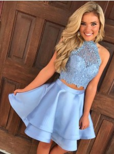 Two Piece Round Neck Short Tiered Satin Homecoming Dress with Lace
