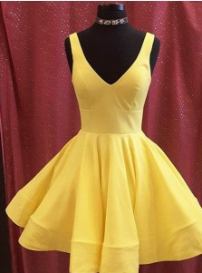 84f6d855e8 ... A-Line V-Neck Short Yellow Satin Homecoming Dress with Pockets
