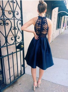 High Low Round Neck Dark Blue Satin Homecoming Dress with Pockets Lace