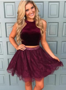 Two Piece Round Neck Short Grape Lace Homecoming Dress with Beading