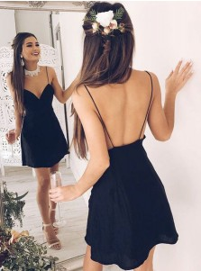 A-Line Spaghetti Straps Chiffon Little Black Dress