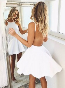 A-Line Round Neck Backless White Satin Short Homecoming Dress