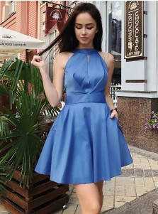 A-Line Jewel Open Back Blue Satin Homecoming Dress with Pockets