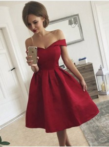 A-Line Off-the-Shoulder Pleated Red Satin Homecoming Dress