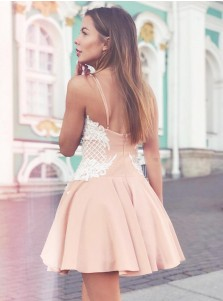 A-Line Spaghetti Straps Champagne Short Homecoming Dress with Lace