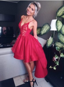 A-Line Spaghetti Straps Asymmetric Red Satin Homecoming Dress with Lace