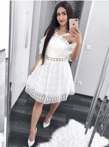 A-Line Cold Shoulder Short White Lace Homecoming Dress