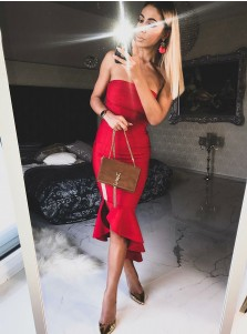Bodycone Strapless Tea-Length Red Satin Cocktail Dress with Ruffles