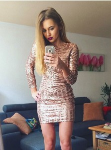 Sheath Bateau Long Sleeves Pink Short Sequined Cocktail Dress