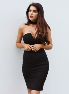 Sheath Strapless Above Knee Black Satin Cocktail Dress