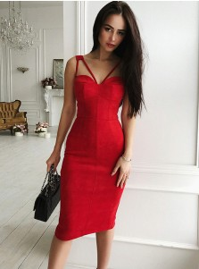 Bodycone V-Neck Knee Length Red Satin Cocktail Party Dress