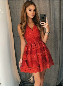 A-Line V-Neck Short Red Tulle Homecoming Dress with Appliques Beading