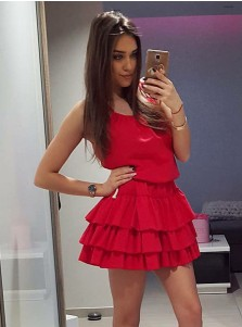 A-Line Scoop Tiered Short Red Satin Homecoming Party Dress