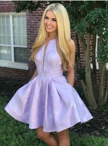 A-Line Jewel Lavender Floral Homecoming Party Dress with Pockets