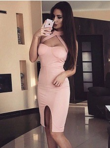 Bodycone Cut-Out Pink Satin Cocktail Party Dress with Split
