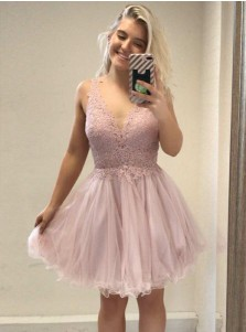 A-Line V-Neck Pink Tulle Homecoming Party Dress with Appliques Beading
