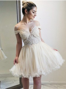 Off-the-Shoulder Light Champagne Homecoming Dress with Appliques Beading