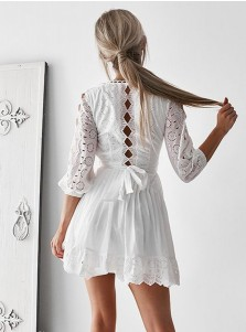 A-Line Round Neck 3/4 Sleeves White Lace Homecoming Dress with Keyhole