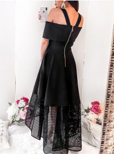 A-Line Cold Shoulder High Low Black Homecoming Dress with Lace