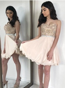 A-Line Sweetheart Pearl Pink Chiffon Homecoming Dress with Beading