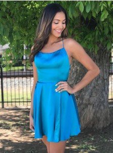A-Line Square Neck Turquoise Short Homecoming Party Dress with Pockets