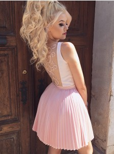 A-Line V-Neck Pleated Pink Satin Homecoming Dress with Appliques Beading