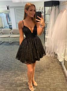 A Line Black Glitter Homecoming Dress