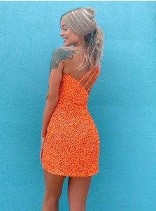 Sequin Open Back One Shoulder Homecoming Dress