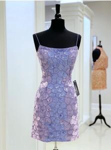 Lilac Sequin Mermaid Homecoming Dress