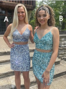 Two Piece Sequin Homecoming Dress