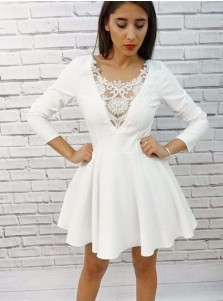 A-Line Scoop Short White Homecoming Dress with Appliques Sleeves