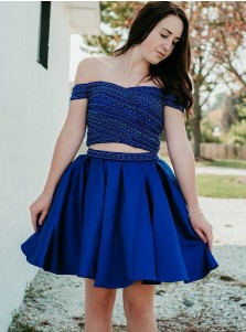 Two Piece Off-the-Shoulder Royal Blue Homecoming Dress with Beading