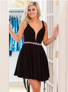 A-Line Scoop Black Satin Homecoming Party Dress with Beading