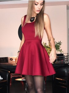 A-Line Square Neck Burgundy Satin Short Homecoming Party Dress